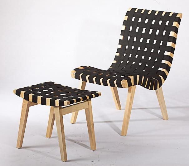 US $159.0 |Modernes Design Aus Massivem Holz Gürtel Gewebt Lounge Chair und Hocker ottoma set wohnzimmer Freizeit Lounge Stuhl set Northen Europa in