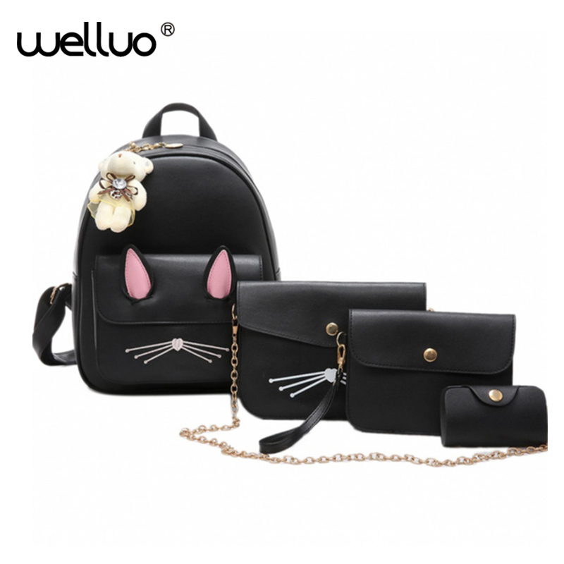 Girls Cute School Bag Four Pieces One Set Backpacks Picture Package Women Bags PU Leather Backpack Sac Rucksack Mujer XA227B