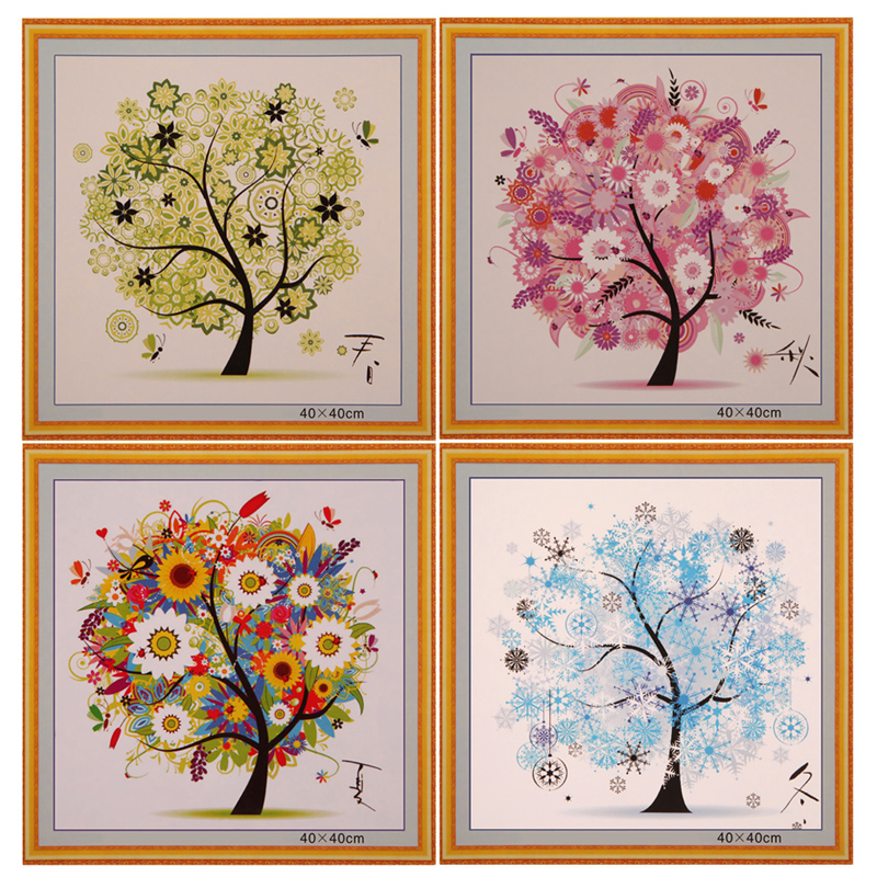 DIY Four Seasons Tree Cross Stitch Kit Counted Embroidery Spring Summer Autumn Winter Home Decorative