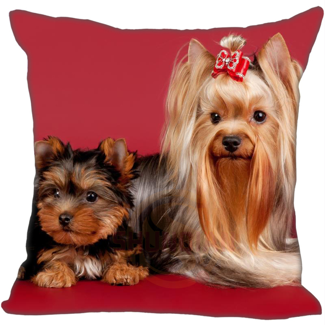 G0909-2 Cute red background funny Yorkshire Terrier Pillow Cases 35 x 35 cm Excellent Quality Soft Pillowcase