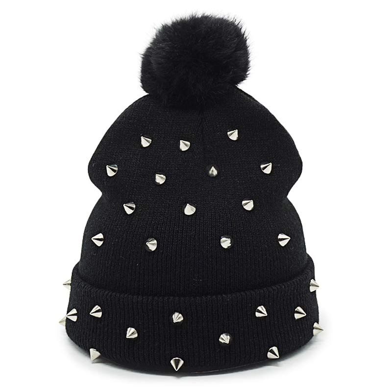 Womens Rivet Winter Pompom   Beanies   Punk Rock Hip Hop Top Ball Knitted Hat Warm Gorros Black   Skullies   Caps