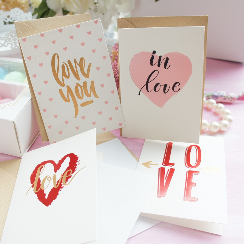 12set fall in love pink red theme valentines day send love Card wedding Christmas Party Invitation with envelope