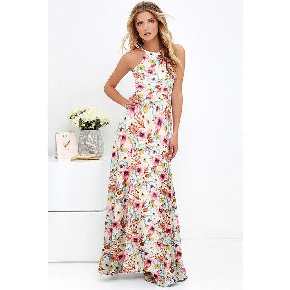 2017 Sexy Women Chiffon Long Dress Floral Print Round Neck ...