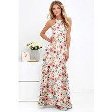 5XL Plus Size Vestido Maxi Mulheres Sexy Halter Pescoço Boho Floral Sem Mangas Vestido de Verão 2018 Praia Vestido de Férias Vestido Longo Longo