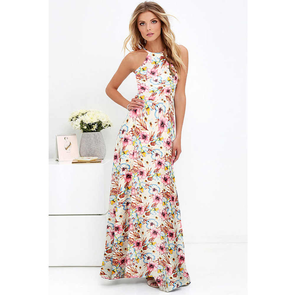e154ad6170dc 5XL Plus Size Maxi Dress Women Sexy Halter Neck Boho Floral Sleeveless Summer  Dress 2019 Beach