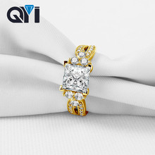 QYI 14K Solid Yellow Gold Rings For Women Luxury Fashion Jewelry Sona Simulated Diamond Engagement Wedding Band Rings