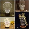 Marvel 3D Wood Mood Lamp Bulbing Skull Micro USB Table Lamp LED Table Night Light Decorative Bulb Darth Vader Lights