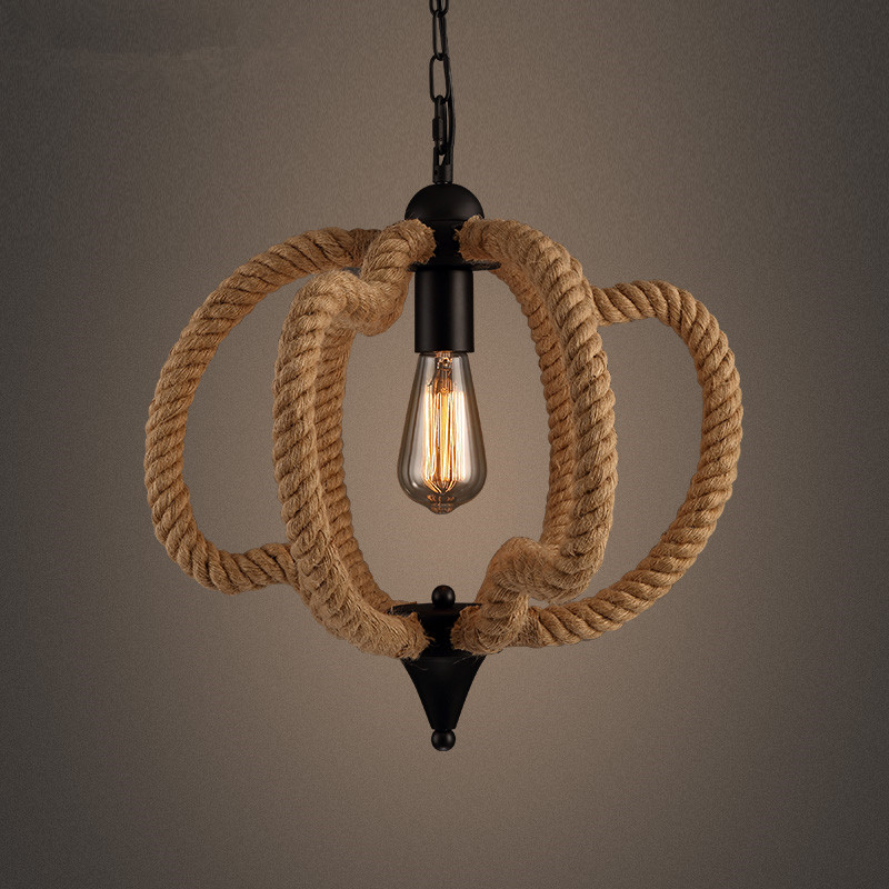 American rural Character designer lights Nordic LOFT extreme simplicity hemp rope pumpkin retro rustic chandeliers lamp lighting