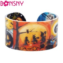 Bonsny Plastic Halloween Festival Pumpkin Bangle Bracelets I