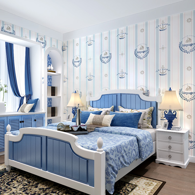 Us 38 72 12 Off Paysota Children Room Wallpaper Boy Cartoon English Style Non Woven Bedroom Mediterranean Vertical Stripe Wall Paper Roll In