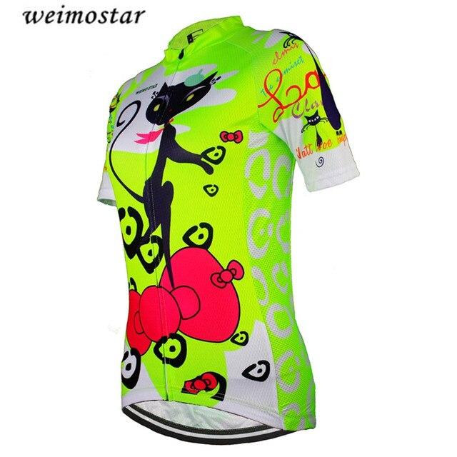 0698d5a52 Women s MTB Bike Jersey Green Cats Cycling Clothing Short Sleeve Outdoor  Top Bike Shirts Girls Wear Jersey bicycle Shirts