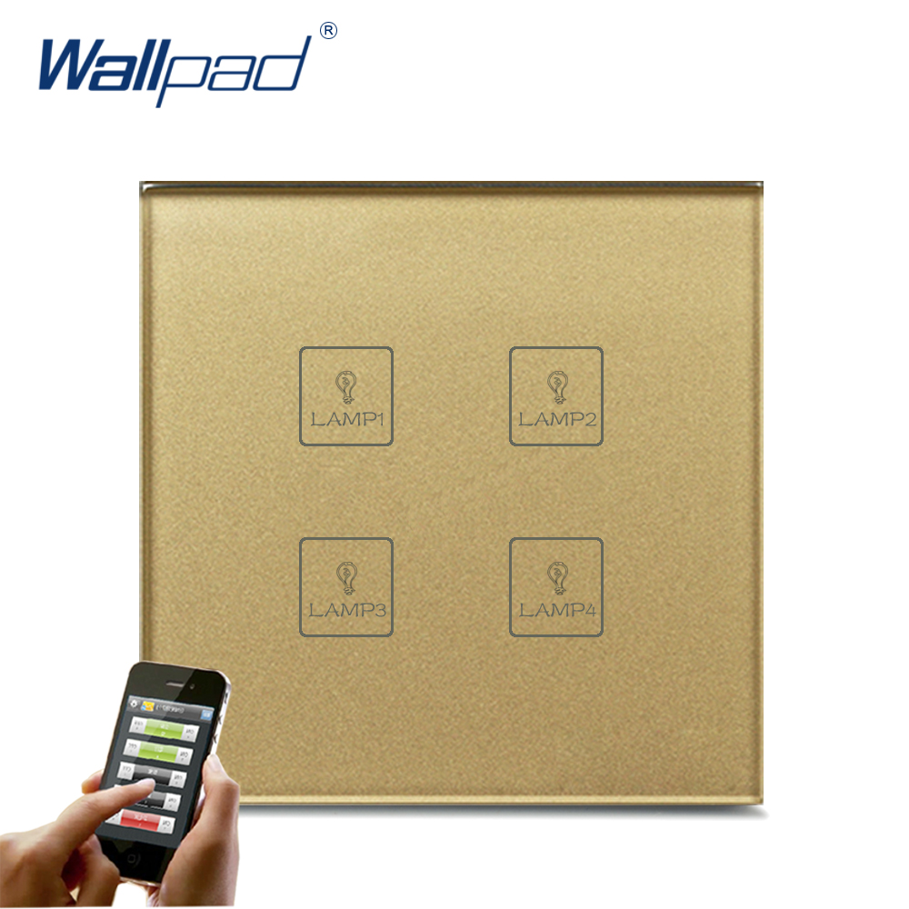 Hot Sale 4 Gang WIFI Remote Wallpad Gold Tempred Glass Switch LED Wireless WIFI 4 Gang Wifi App Remote Double Wall Light Switch 4 gang curtain switch wallpad black tempered glass switch 4 gang touch double curtain window shutter blinder wall switches