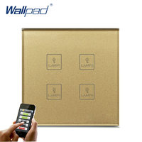 Hot Sale 4 Gang WIFI Remote Wallpad Gold Tempred Glass Switch EU Wireless WIFI 4 Gang Wifi App Remote Double Wall Light Switch