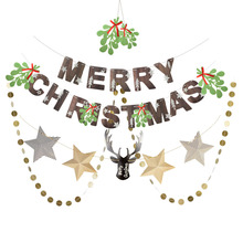 4pcs/set Christmas Paper Decoration Kit Mistletoe Garland Reindeer Banner Circle Holiday Hanging