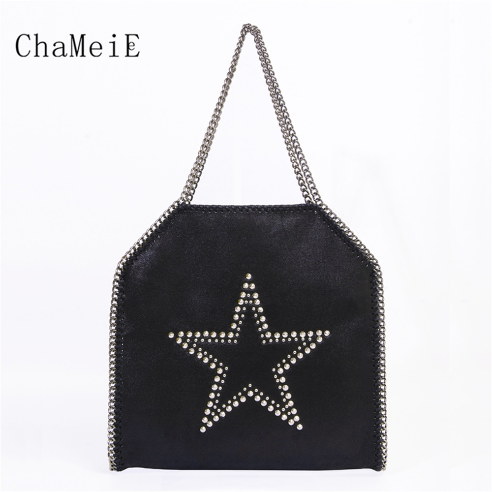 New Fashion 3 Sizes Women Chain Handbag Brand Rivet Star Causal Totes Female Fold Over PVC Shoulder Bag Bolsa Classic цена