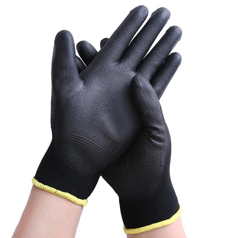 12 Pair/lot Black Nylon & PU Palm Coated Electronic Anti-static Gloves With PU AntiStatic Work Glove цена