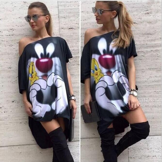 2018 Minnie Mouse Dress Cosplay Costumes Minnie Mouse Bag Hip Dress Summer fashion cartoon printed oblique collar loose dress