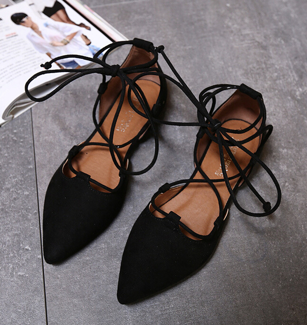 2017 Fashion Women Pumps Roman Style Sandals Lace up flat Cut Outs Shoes Summer Open Toe Sapato Femininos Plus size 33-43