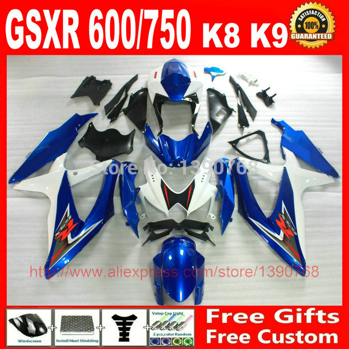 full fairing kit for SUZUKI GSXR600 GSXR750 2008 2009 2010 blue black white fairings set K8 08 09 10 GSXR 600 750 BM36