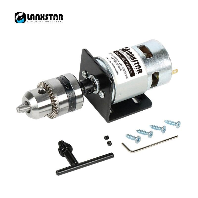 Lanxstar High Torque 775 Motor DC12V 13000~15000rpm Mini Hand Drill B12 Drill Chuck 1.5~10mm Bearing Motor