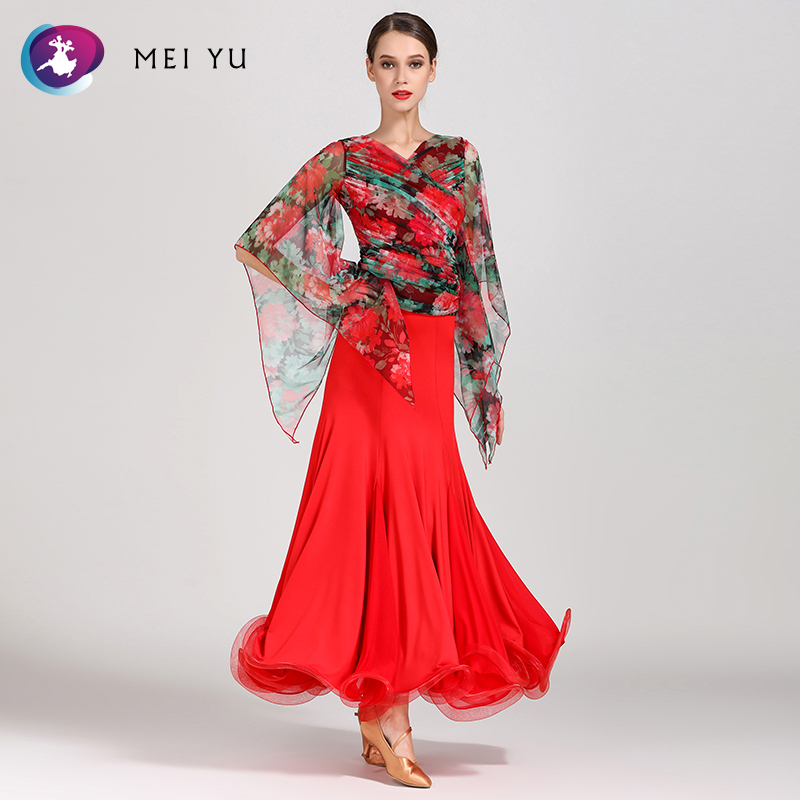 Eerzuchtig Mei Yu Gb027 En S9018 Moderne Dans Kostuum Top En Rok Past Dans Jurk Ballroom Kostuum Vrouwen Dame Avondfeest Jurk