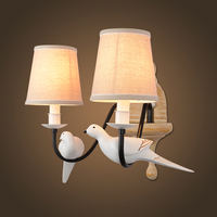 Nordic Modern Resin Fabric Wall Sconce Bird Shape Metal Painting Wall Lamp for Home Lighting Aisle Corridor Light