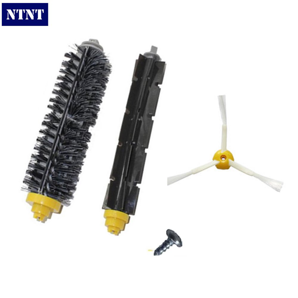 NTNT 1X 3-armed Side Brush & Screw+1 Bristle and Flexible Beater Brush for iRobot Roomba 700 Series 770 780 790 Cleaer Accessory hepa filters bristle brush flexible beater brush 3 armed side brush pack set for irobot roomba 700 series 760 770 780 790