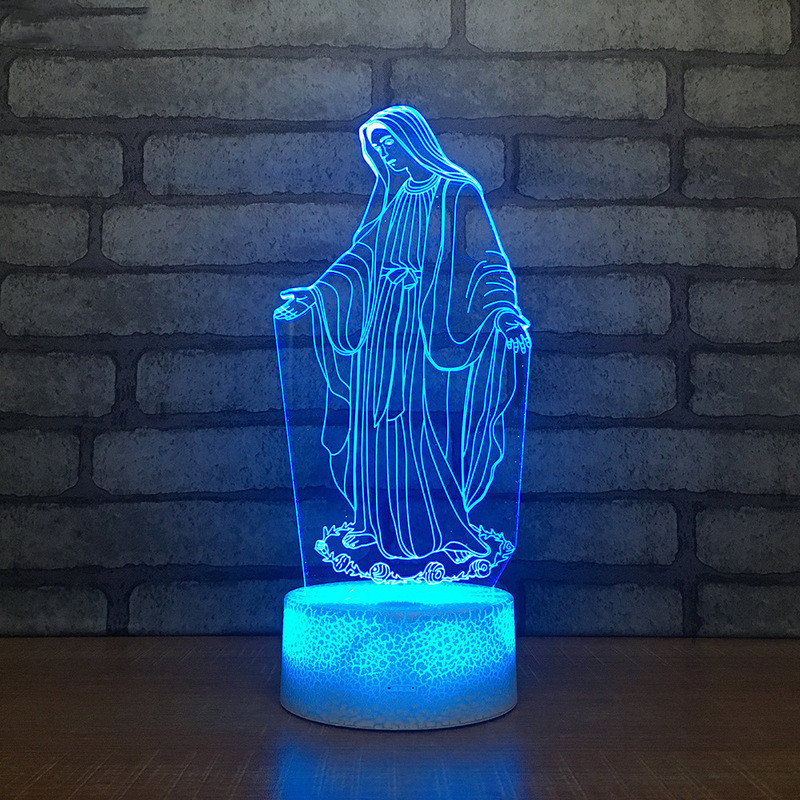 Acrylic 3D LED Night Light Blessed Virgin Mary Touch 7 Color Changing Desk Table Lamp Home Decorative Sleep Light Christmas Gift