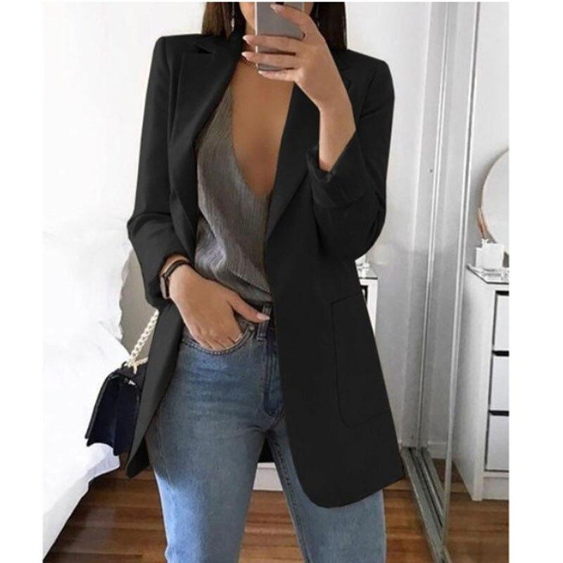2019 Spring Blazer Jackets for Women European Style Fashion Work Style Suit ladies blazer Long Sleeve Blazer Outerwear