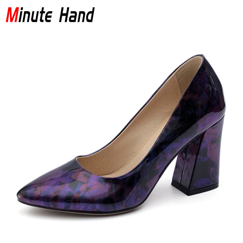 Minute Hand 2018 New Fashion Women Mixed Colors Shoes Pointed Toe Slip On Pumps High Thick Heels Casual Shoes Plus Size 31-47 017 new women sandals pointed toe slip on casual summer mixed colors shallow back strap women casual shoes black brown 4 10