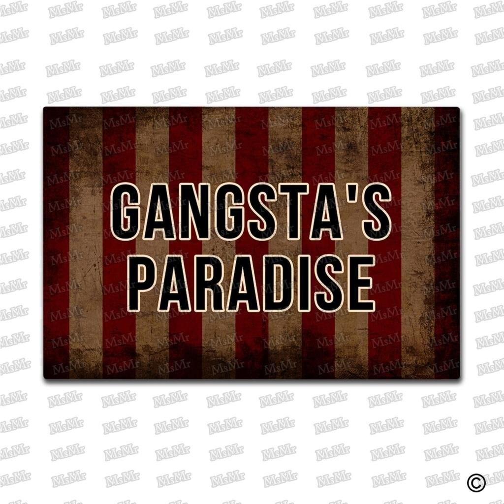 MsMr Entrance Floor Mat Funny Doormat Gangstas Paradise Stripe Door Mat Outdoor Indoor Mat Non-woven Fabric Top