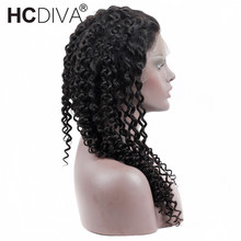 Mongolian Kinky Curly 360 lace frontal wig 22x4x2 Pre Plucked Non-Remy Natural Black For Women Human Hair Wigs HCDIVA Hair