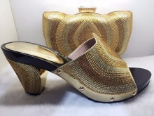 Oro Italiano de Zapatos con Bolso A Juego de La Moda Celosía Patrón de Italia zapatos y la Bolsa Para Que Coincida Con Las Mujeres Africanas para el Partido TT17-55.