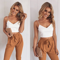 2017 Women Two Piece Outfits Pants Set Rompers Jumpsuit Long Pants 2 Piece Set V Neck