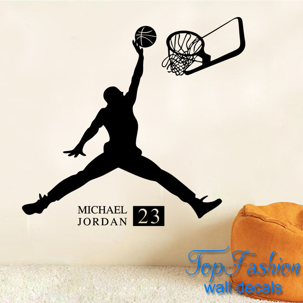 Hot Caved Michael Jordan NBA Basketall Player Wall Stickers Quotes Wall  Decals size 61*65cm