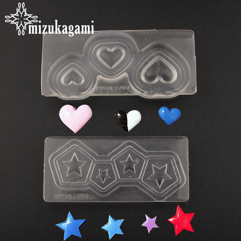 1pcs UV Resin Jewelry Liquid Silicone Mold 3D Love Heart Stars Resin Charms Mold For DIY Jewelry Nail Art Mold