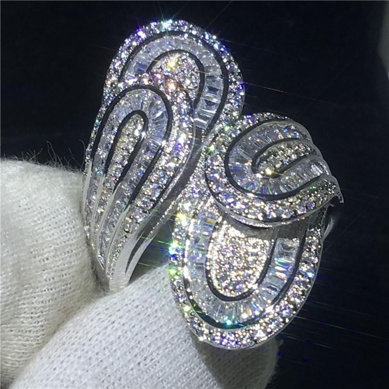 90% de Réduction De Luxe Croix anneau 925 Sterling argent T-forme AAAAA Cz Engagement band anneau de mariage pour les femmes De Mariée doigt Bijoux