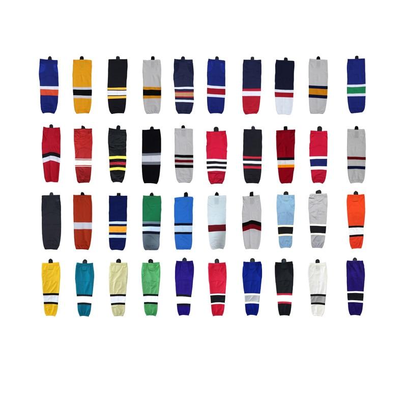2016 100% poliéster Equipos de calcetines de hockey sobre hielo Equipo deportivo personalizado El apoyo puede personalizarse como su logotipo / Tamaño / Color Calcetines