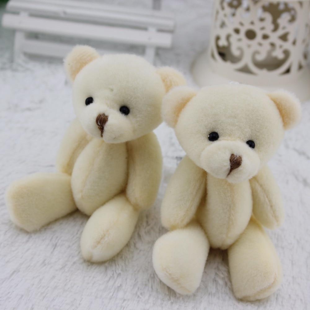 12 Stks/partij 12 Cm Wit Mini Teddybeer Kawaii Kleine Teddybeer Voor Cartoon Boeket Speelgoed Huwelijksgeschenken