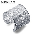 wholesale silver plated ring for party big style Gorgeous Fashion rings for women jewelry resizable wholesale Classical LSR021