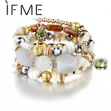 IF ME Bohemian Geometric Multilayer Charm Bracelets for Women Beads Bracelets & Bangles Statement Party Ethnic Jewelry Gift(China)