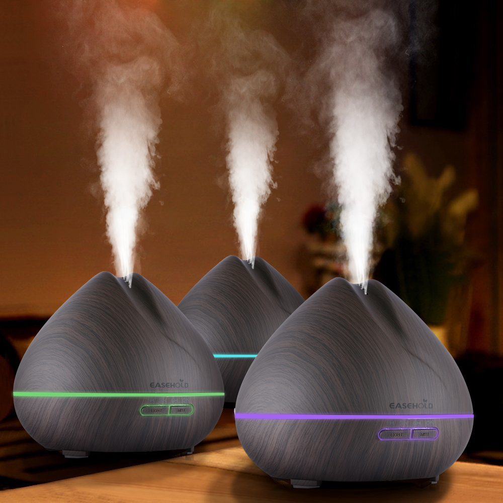 EASEHOLD 400ml Aroma Essential Oil Diffuser Ultrasonic Air Humidifier With Wood Grain 7 Color Changes LED Lights For Office Home