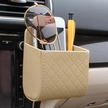 Car Air Vent Outlet Trash Box PU Leather Car Mobile Phone Holder Bag Automobile Hanging Pouch Automovil Interior Accessories image