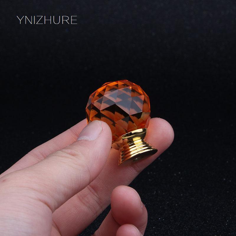 2018 Puxadores 10 Stks 30mm Oranje Meubels Kristalglas Ladeblok Handvat Knop Dresser Schoen Wijn Puxador Met Schroef