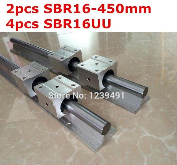 2pcs SBR16 - 450mm linear guide + 4pcs SBR16UU block cnc router 2pcs sbr16 l1000mm linear guide 4pcs sbr16uu block cnc router