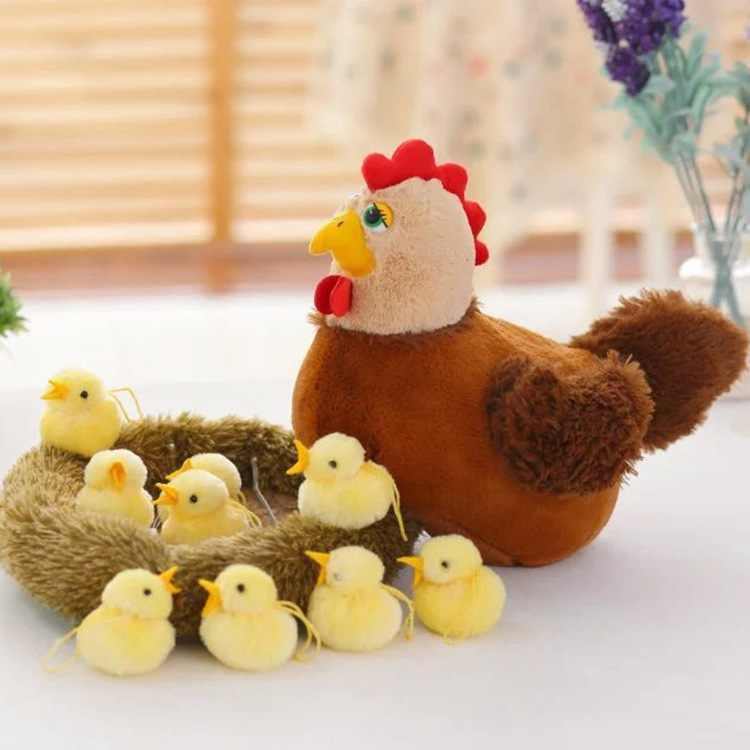 Плюшевая кавайная Игрушка Цыпленок, курица, милое гнездо, Цыпленок, реалистичные мягкие животные, рождественские игрушки, подарки для детей, Развивающие детские мягкие игрушки
