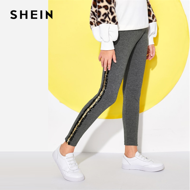 SHEIN Kiddie Grey Contrast Tape Elastic Waist Casual Pants Girls Leggings 2019 Spring Active Wear Fashion Pants Kids Clothing girls contrast tape pants