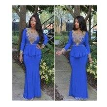 Neue Ankunft Elegante Muslimischen Stil Langarm Abendkleid Lange Royal Blue Mit Appliques Chiffon Abendkleid Kleider