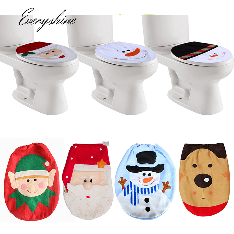Santa Claus Toilet Lid  Christmas Decoration Bathroom Hanging Ornaments Lavatory Toilet Case Holders for Home DS306