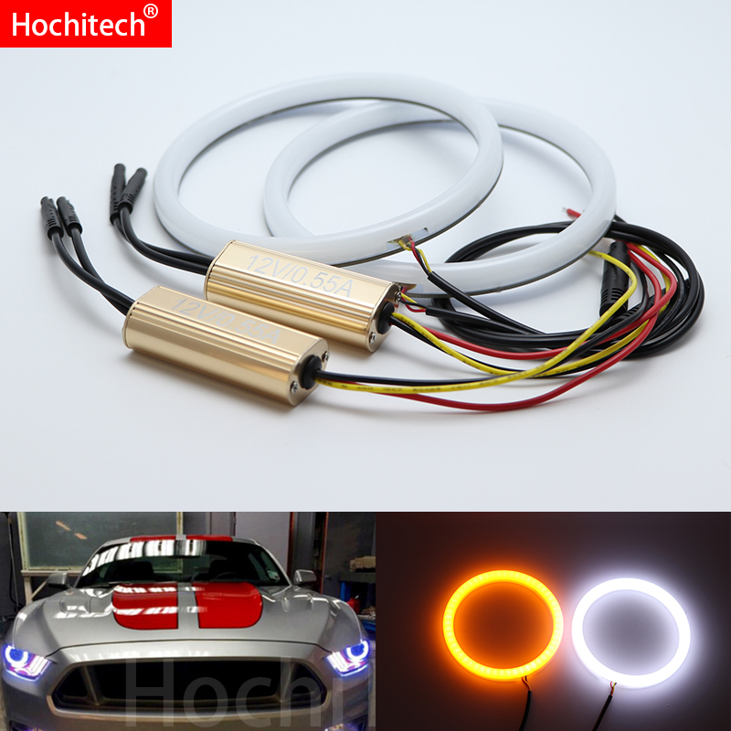 White & yellow Dual and only white Cotton <font><b>LED</b></font> Angel eyes kit halo ring Turn signal light for Ford <font><b>Mustang</b></font> <font><b>2015</b></font> 2016 2017 2018 image